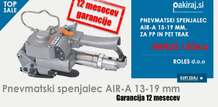 Pnevmatski spenjalec AIR-A 13-19 mm za PET in PP trak pakiranje povezovanje