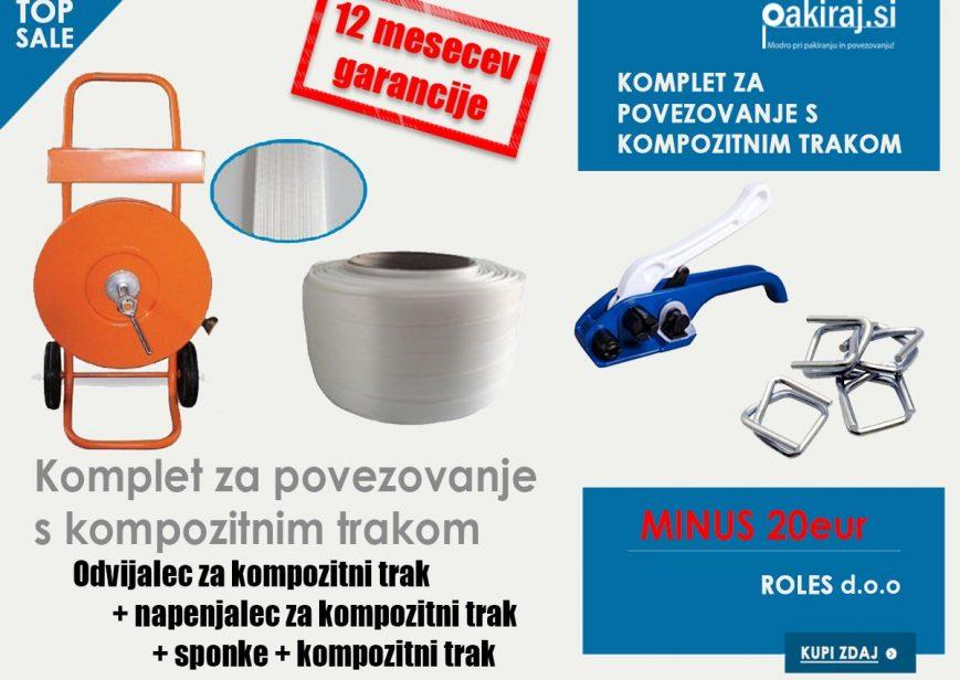 Kompozitni trak komplet za pakiranje, povezovanje, sponke, napenjalec, odvijalec za kompozitni trak in kompozitni trak poceni, cena, akcija